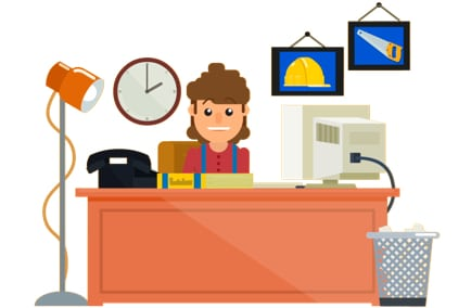 Localsearch on ya John cartoon of tradesman in a old-style office