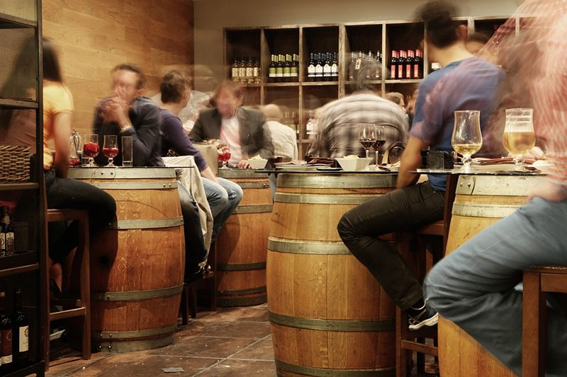 People in a wine bar