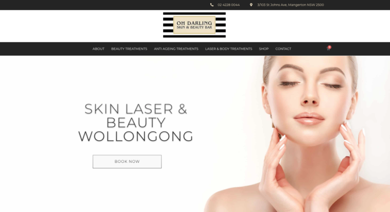 Oh Darling skin & beauty wollongong website
